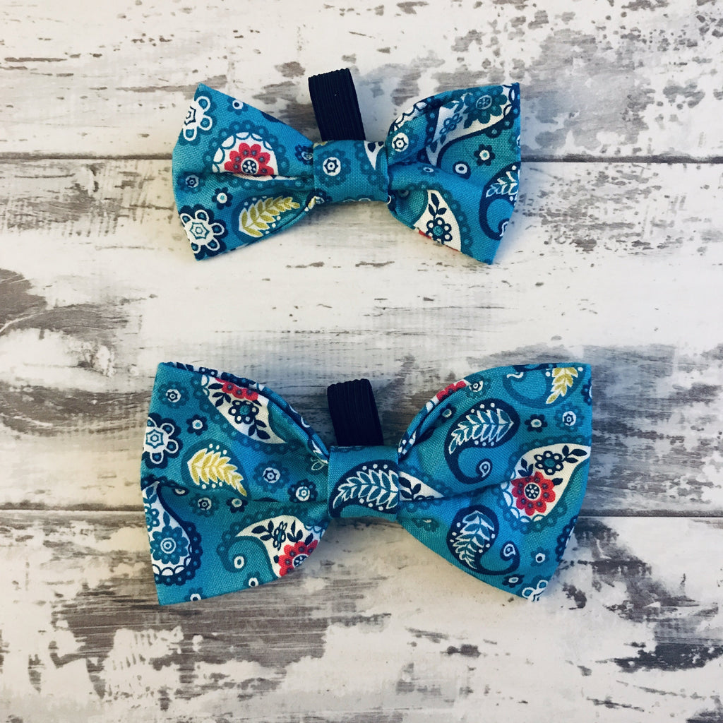 The Black Dog Company Bow Ties Small Turquoise Paisley Bow Tie
