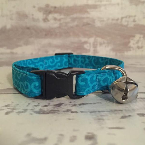 The Black Dog Company Cat Collars Teal Swirls - Cat Collar