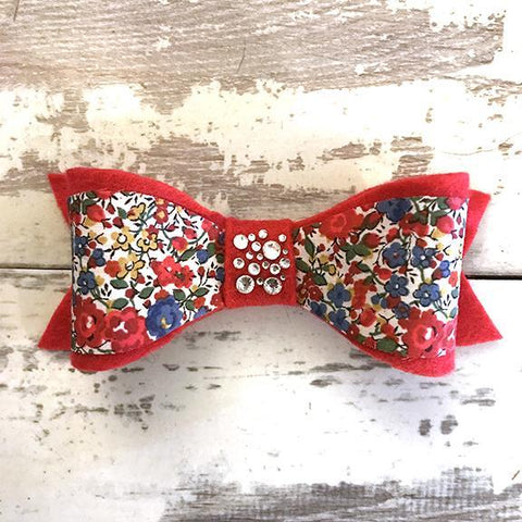 The Black Dog Company Felt Bows Liberty Red Floral Felt Bows