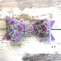 The Black Dog Company Felt Bows Lilac Floral Felt Bows