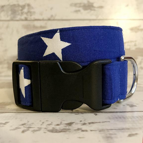 The Black Dog Company Handmade Dog Collars Blue with White Stars - Dog Collar