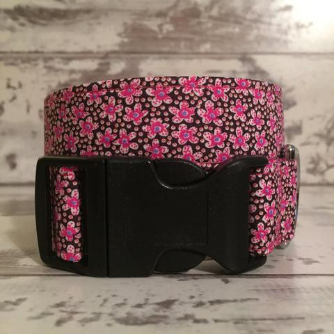The Black Dog Company Handmade Dog Collars Cerise Daisies - Dog Collar