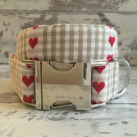 The Black Dog Company Handmade Dog Collars Chequered Fawn Hearts - Dog Collar