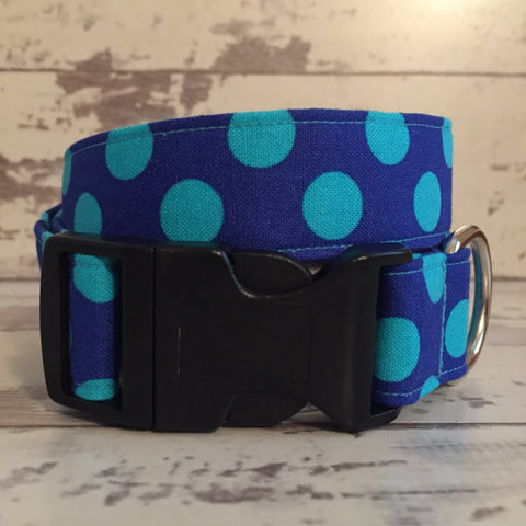 The Black Dog Company Handmade Dog Collars Cobalt Blue Spots - Dog Collar
