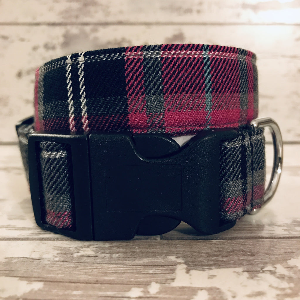 The Black Dog Company Handmade Dog Collars Extra Small / Plastic Pink Tartan - Dog Collar