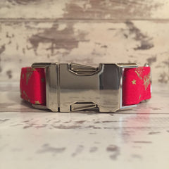 The Black Dog Company Handmade Dog Collars Festive Trees - Red - Dog Collar