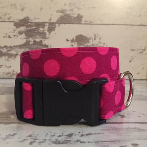 The Black Dog Company Handmade Dog Collars Fuchsia Spots - Dog Collar