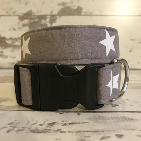 The Black Dog Company Handmade Dog Collars Grey with White Stars - Dog Collar