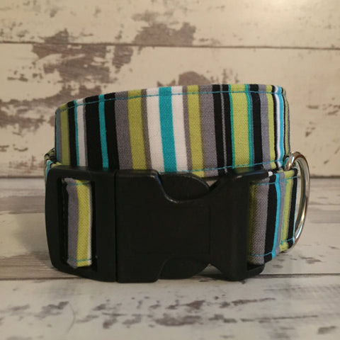 The Black Dog Company Handmade Dog Collars Lagoon Stripes - Dog Collar