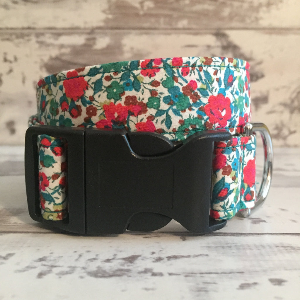 The Black Dog Company Handmade Dog Collars Large / Plastic Liberty Green & Red Floral - Dog Collar