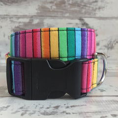 The Black Dog Company Handmade Dog Collars Large / Plastic Rainbow Stripes - Dog Collar