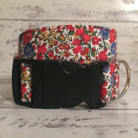 The Black Dog Company Handmade Dog Collars Liberty Red Floral - Dog Collar