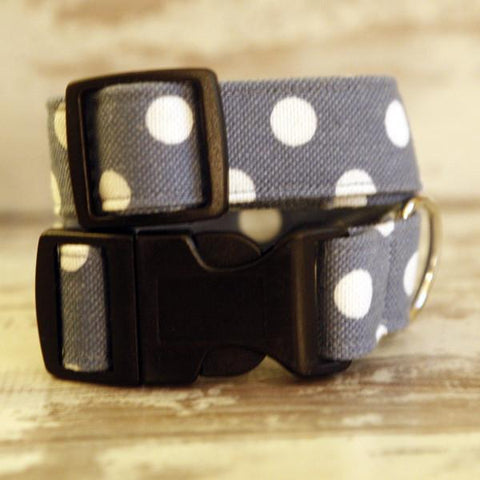 The Black Dog Company Handmade Dog Collars Light Blue with White Spots - Dog Collar