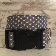 The Black Dog Company Handmade Dog Collars Little Grey Stars - Dog Collar