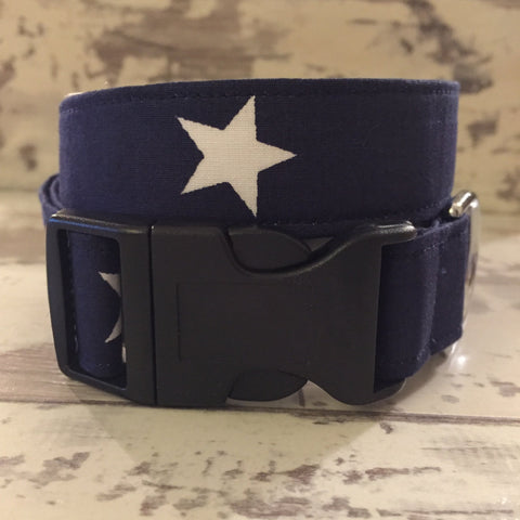 The Black Dog Company Handmade Dog Collars Navy Blue with White Stars - Dog Collar