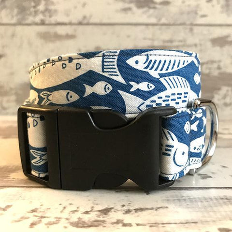 The Black Dog Company Handmade Dog Collars **NEW** Blue Fish - Dog Collar