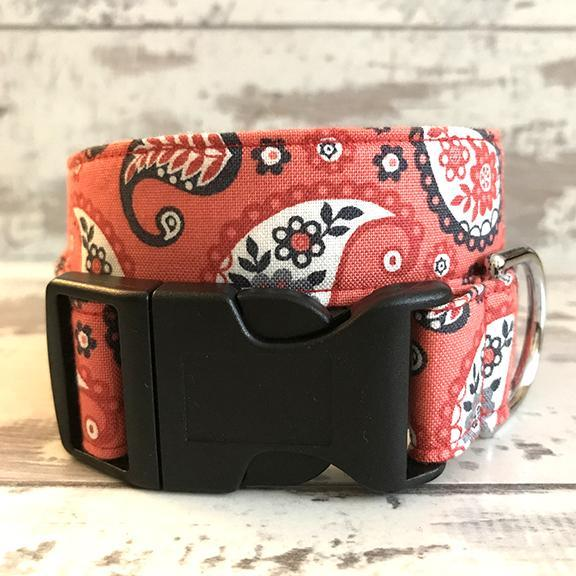 The Black Dog Company Handmade Dog Collars **NEW** Coral Paisley - Dog Collar