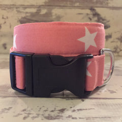 The Black Dog Company Handmade Dog Collars Pink with White Stars - Dog Collar
