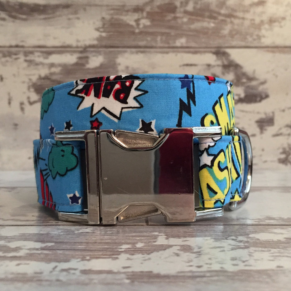 The Black Dog Company Handmade Dog Collars Pow Bang Smash - Blue - Dog Collar