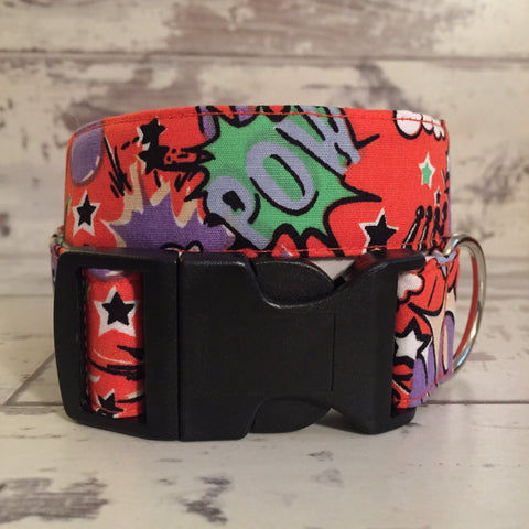 The Black Dog Company Handmade Dog Collars Pow Bang Smash - Orange - Dog Collar