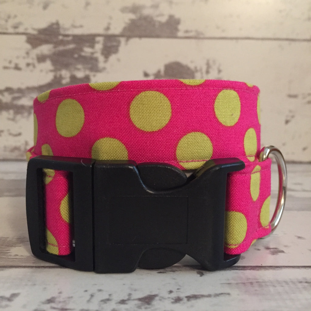 The Black Dog Company Handmade Dog Collars Raspberry Spots - Dog Collar