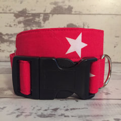The Black Dog Company Handmade Dog Collars Red with White Stars - Dog Collar