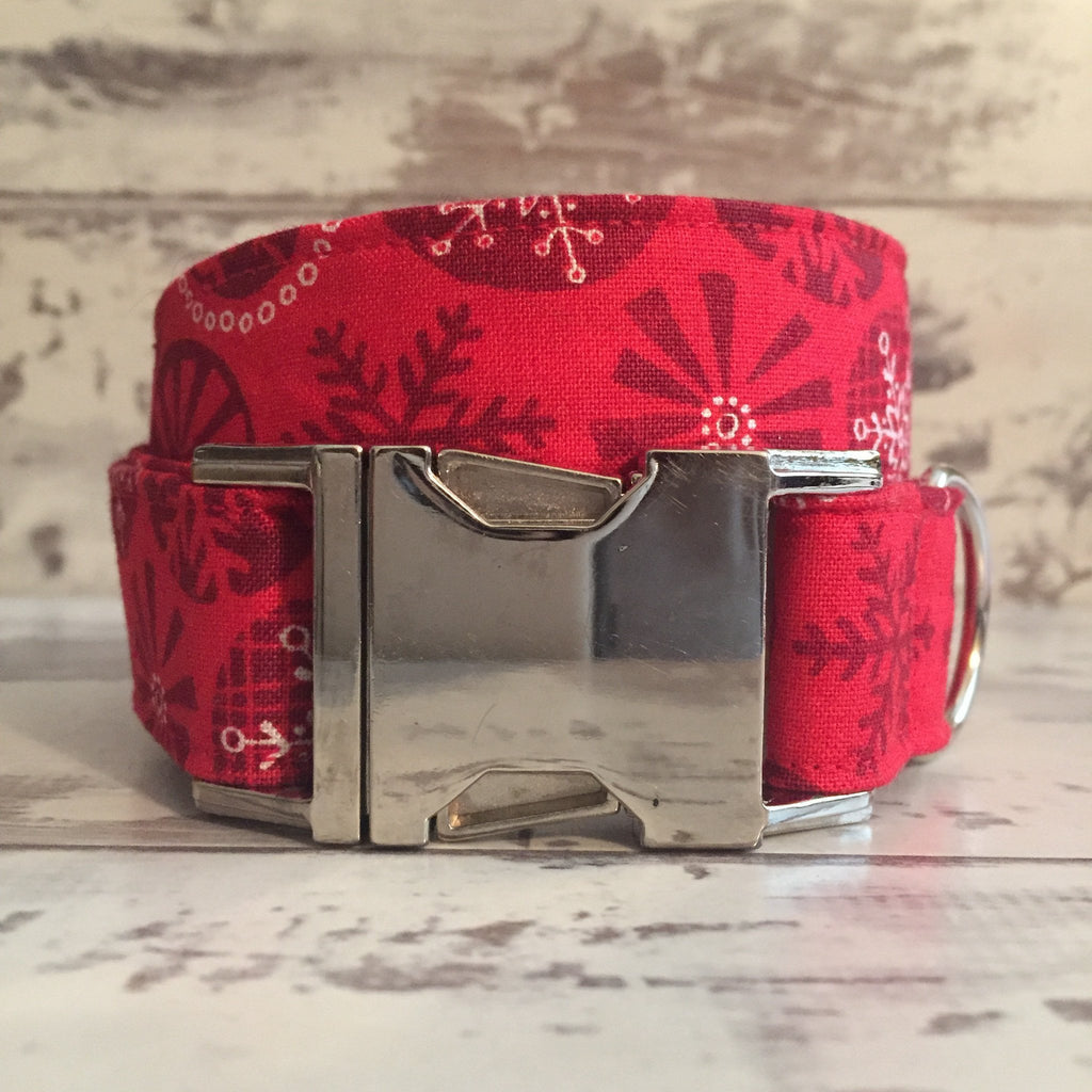 The Black Dog Company Handmade Dog Collars Red Yule Snowflakes - Dog Collar