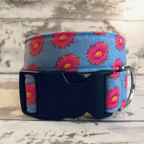 The Black Dog Company Handmade Dog Collars Small / Plastic Pink Geraniums - Dog Collar