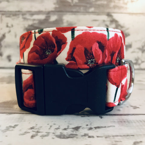 The Black Dog Company Handmade Dog Collars Small Wide / Plastic **NEW** Red Poppies - Dog Collar