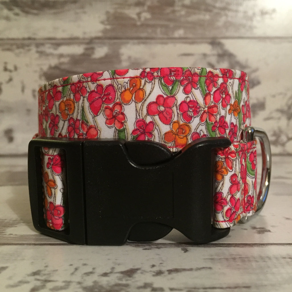 The Black Dog Company Handmade Dog Collars Spring Poppies - Dog Collar