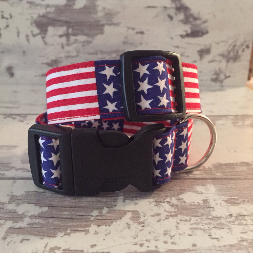 The Black Dog Company Handmade Dog Collars Stars and Stripes - Dog Collar