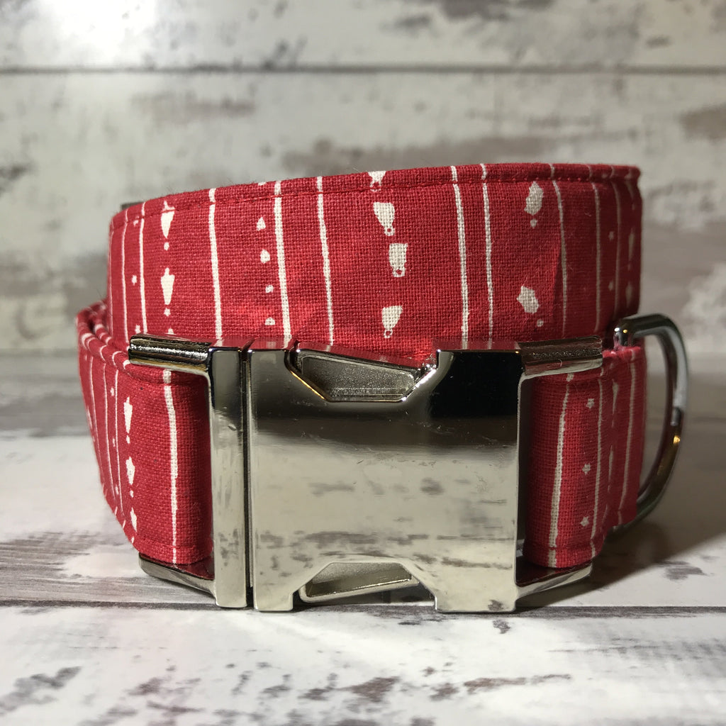 The Black Dog Company Handmade Dog Collars Vintage Christmas Stripe  - Dog Collar
