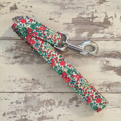 The Black Dog Company Handmade Dog Leads Liberty Green & Red Floral - Dog Lead