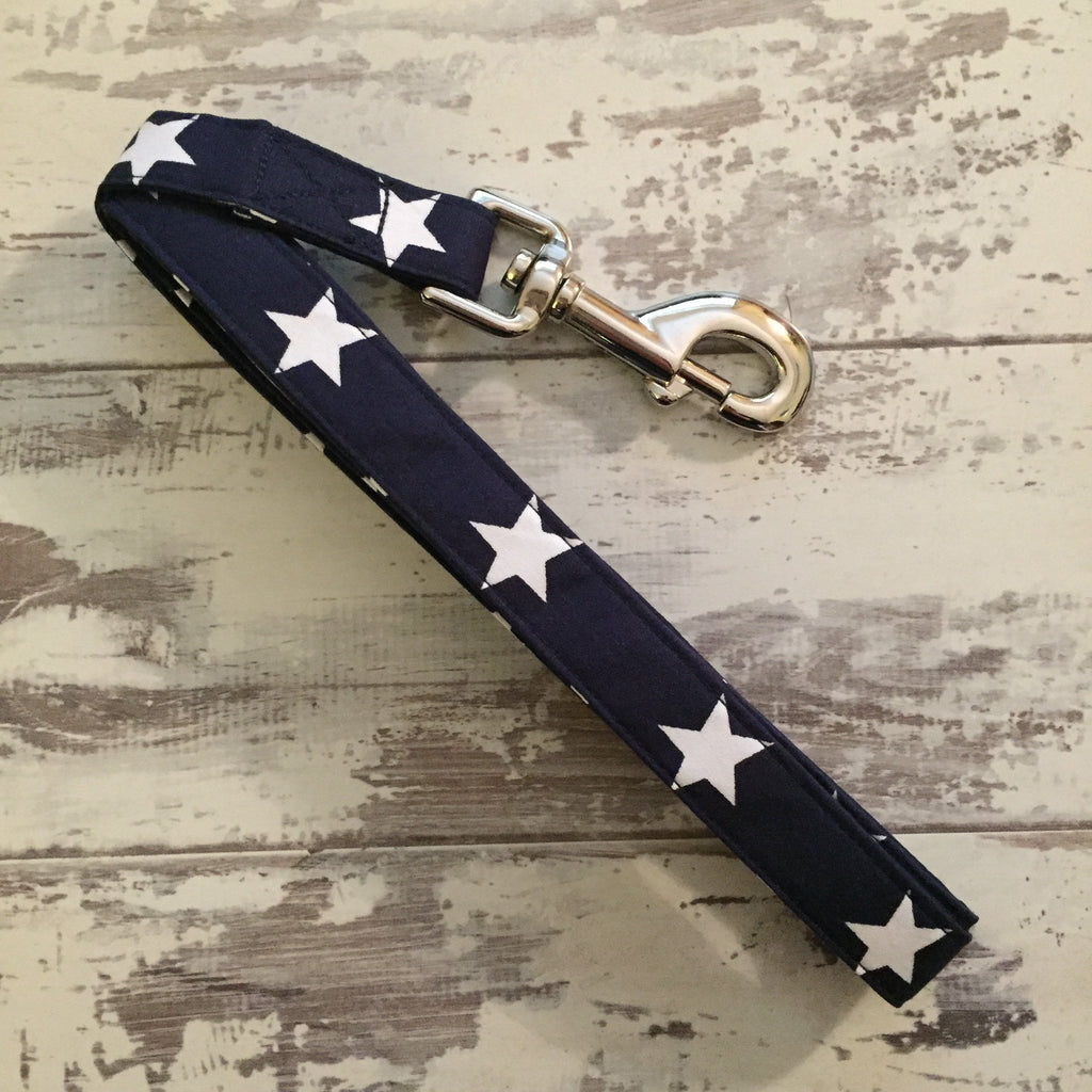 The Black Dog Company Handmade Dog Leads Navy with White Stars - Dog Lead