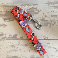 The Black Dog Company Handmade Dog Leads Pow Bang Smash - Orange - Dog Lead