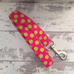 The Black Dog Company Handmade Dog Leads Raspberry Spots - Dog Lead
