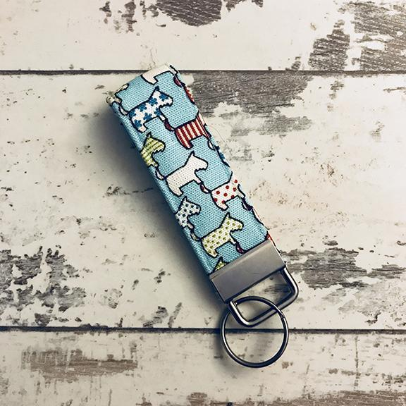 The Black Dog Company Key Ring Fob Blue Dogs Key Ring Fob
