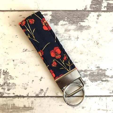 The Black Dog Company Key Ring Fob Liberty Poppies Key Ring Fob