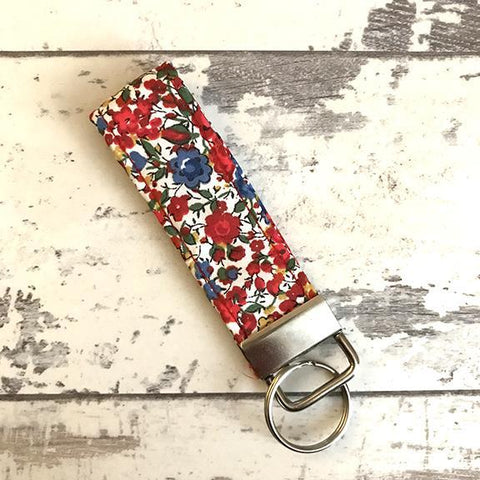 The Black Dog Company Key Ring Fob Liberty Red Floral Key Ring Fob