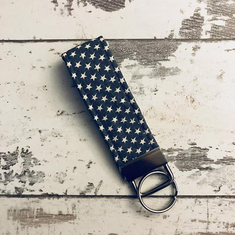The Black Dog Company Key Ring Fob Little Grey Stars Key Ring Fob