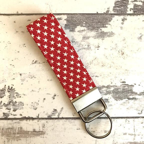 The Black Dog Company Key Ring Fob Little Red Stars Key Ring Fob