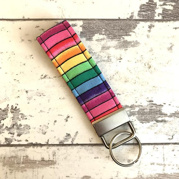 The Black Dog Company Key Ring Fob Rainbow Stripes Key Ring Fob