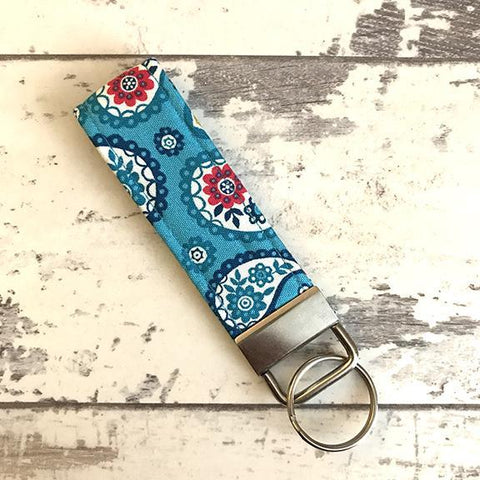 The Black Dog Company Key Ring Fob Turquoise Paisley Key Ring Fob