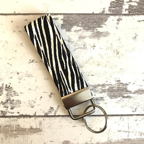 The Black Dog Company Key Ring Fob Zebra Stripe Key Ring Fob