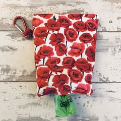 The Black Dog Company Treat & Poobag Holder **NEW** Red Poppies Treat & Poobag Holder