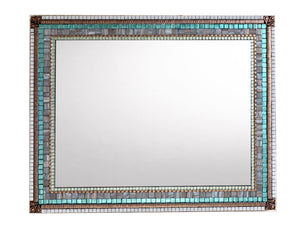 Large Mosaic Mirror Gray Copper Aqua