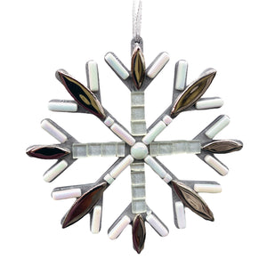 Christmas Ornament Snowflake Silver and White