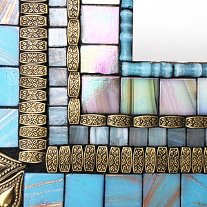 Aqua Blue Bathroom Mirror, Rectangular Mosaic Mirror, Green Street Mosaics