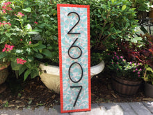 Coral, Aqua, Gray Mosaic Address Plaque, House Number Sign, Green Street Mosaics
