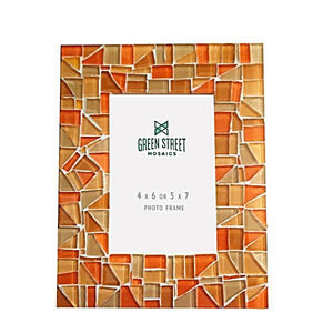 Orange Mosaic Picture Frame, Picture Frame, Green Street Mosaics